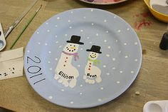 Christmas plate with your child's footprint,