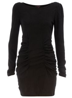 black long sleeve knit dress