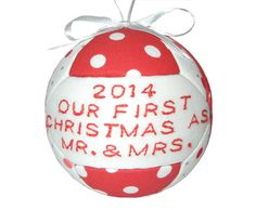 First Christmas as Mr and Mrs 2014 Ornament by craftcrazy4u, $16.95