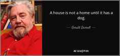 Gerald Durrell quote: A house is not a home until it has a. Gerald Durrell, Story Quotes, Einstein, My Books, Author, Writers, Inspiration, Google Search, House
