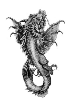 Black And Grey Dragon Fish Tattoo Design