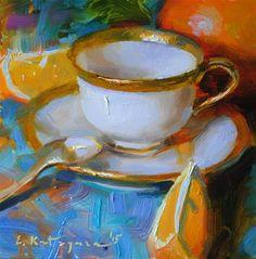 "Daily Paintworks - ""Gold and Orange"" - Original Fine Art for Sale - © Elena Katsyura"
