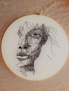 Fantastic Totally Free Embroidery Patterns geometric Tips Geometric Face Embroidery Portrait Embroidery, Embroidery Patterns Free, Hand Embroidery Patterns, Diy Embroidery, Embroidery Stitches, Geometric Embroidery, Geometric Patterns, Textiles, Geometric Face