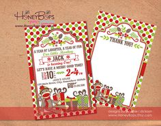 Christmas Bhirthday Sock Monkeynvite and Thank You by HoneyBops, $21.95