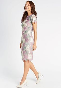 Buy the Swirl Lace Short Sleeve Bodycon Midi Dress from Marks and Spencer's range. Short Sleeve Dresses, Dresses With Sleeves, Lace Shorts, London, Collection, Fashion, Moda, La Mode, Gowns With Sleeves