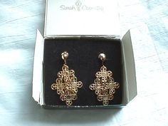 $35 Vintage Sarah Coventry Golden Petals gold tone dangle earrings in original box - Vintage Sarah Coventry Golden Petals gold tone dangle earrings in original box