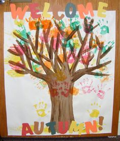 Easy Fall Craft for Kids Idea for the Classroom - Fun Hand print Autumn tree with students hand prints as leaves.
