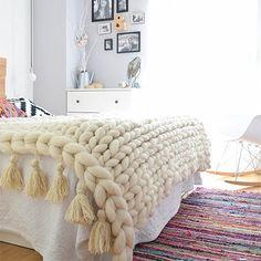 manta punto grueso, manta xl, chunky blanket, lana merino - how-to-crochet-chunky-blanket