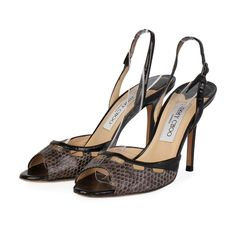 These are marvelous pumps for a one of a kind look, wear these to parties and special events for the chic style from Jimmy Choo!  ITEM CONDITION: Pre-owned – Very good condition.  SUPPLIED WITH: These shoes are supplied with their original Jimmy Choo box and dust bag.  SIZE: 37.5 – (UK size 4.5)  THE LEFT SHOE: Very good condition – With normal signs of wear.  THE RIGHT SHOE: Very good condition – With normal signs of wear. The Chic, Pumps, Heels, Snake Skin, Special Events, Jimmy Choo, Dust Bag, Peep Toe, Parties