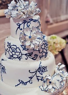 Deep Blue Floral Wedding Cake...I really, really like this cake, but in a different color
