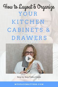 How to organize your kitchen cabinets and drawers. Learn where to put things in kitchen cabinets with this video guide and cheat sheet. Organize your kitchen by mapping all your cabinets and drawers into zones. This video shows you the best place to put t Cheap Kitchen Cabinets, Kitchen Cabinet Drawers, Kitchen Drawer Organization, Kitchen Storage, Organization Ideas, Organizing Tips, Ikea Kitchen, Kitchen Redo, Kitchen Layout