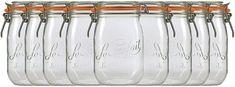2 er Set Le Parfait Drahtbügelgläser 1.0 Liter Drahtbügelglas mit Gummiring und Glasdeckel Einmachgläser Vitrea Parfait, Tableware, Canning, Wire, Ring, Dinnerware, Tablewares, Dishes, Place Settings