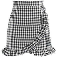 Chicwish Cool Like Ruffle Skorts in Black Gingham ($37) ❤ liked on Polyvore featuring black and golf skirts