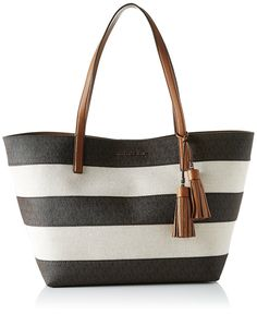 15349270fab3de MICHAEL KORS Large Brown Striped East West Beach Tote Bag Beach Tote Bags,  Canvas Tote