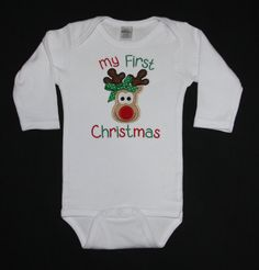 My 1st Christmas appliqued bodysuit by BoutiqfullyYours on Etsy