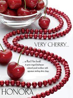 Honora Cherry Red Pearls.  #pearls #valentinesday #pinkandred
