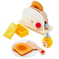 Hape White Wooden Pop-Up Toaster Set, Pretend Play Kitchen Accessories for Kids Preschoolers Play Kitchens, Play Kitchen Food, Pretend Play Kitchen, Play Food Set, Basic Kitchen, Pop Up Toaster, Play Kitchen Accessories, Baby Accessories, Honey Bottles