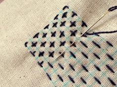 "Japanese Embroidery Sashiko Harujion Design: A bit of detail how to stitch ""Juuji Hana-zashi"" Embroidery Designs, Diy Embroidery, Cross Stitch Embroidery, Embroidery Books, Embroidery Scissors, Embroidery Supplies, Embroidery Tattoo, Embroidery Needles, Machine Embroidery"