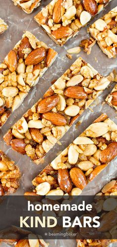 Homemade KIND Bars: an easy, 5 ingredient nut bars recipe for homemade kind bars! Salty 'n sweet healthy nut bar delight! #NutBars #KIND #Homemade #Recipe   Recipe at BeamingBaker.com Gluten Free Quick Bread, Vegan Gluten Free Desserts, Healthy Breakfast Recipes, Healthy Snacks, Healthy Recipes, Homemade Kind Bars, Homemade Recipe, Recipe Recipe, Baker Recipes