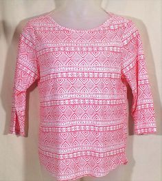 Chicos 3 Knit Top Red White 3/4 Sleeves #Chicos #KnitTop #Casual