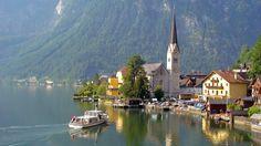 View of the lake-front of Hallstatt, Austria