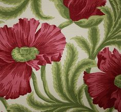 Sissinghurst Linen Fabric Linen union fabric with large poppy design in red and green on a off white cloth
