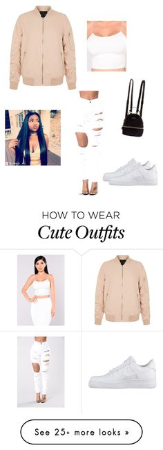 """""""Cute bomber jacket outfit"""" by mariacarranza-i on Polyvore featuring NIKE and GUESS"""