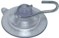 """CRL 1-1/8"""" Small Suction Cups with Metal Hooks by CR Laurence by CR Laurence. $16.83. Made of Crystal Clear Vinyl Metal Hook Will Not Rust Weight Capacity: 1 pound (.45 kg) CRL Vinyl Suction Cups contain U.V. stabilizers that protect the cup from yellowing in the sun. Cups generally adhere to smooth, non-porous surfaces with little effort. Designed to hold signs, radar detectors, thermometers, bird feeders, and so on. These clear vinyl cups can hold up to 1 lb. (.45 kg) safely."""