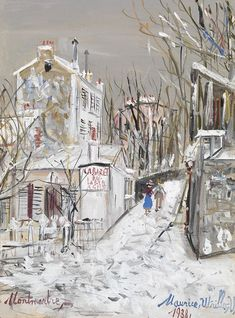 Maurice Utrillo Le Lapin Agile signed and dated 'Maurice, Utrillo, V, (lower right) and inscribed '-Montmartre,-' (lower left) gouache on paper x 9 in. Paris Painting, Painting Snow, Maurice Utrillo, Amedeo Modigliani, Post Impressionism, Claude Monet, French Artists, Vincent Van Gogh, Landscape Paintings