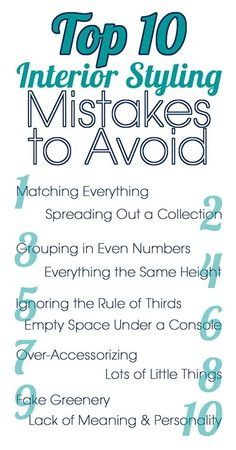Interior styling mistakes to avoid