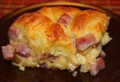 1 Can Flaky Grands   Bag shredded cheddar 8 oz.   Half cup milk   Cubed ham or ground cooked sausage 1 cup cooked   5 eggs   ...