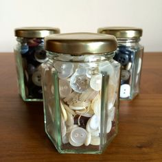 Small Glass Jar with Vintage Mix of Buttons by PeapodVintage