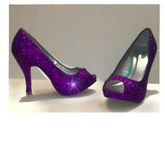 $10 OFF with code: PINNED10 Sparkly Purple Glitter Peep Toe high & low Heels Pumps wedding bride shoes Prom Bridesmaid