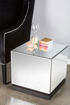 Statements by J  Mirrored Cube Side Table