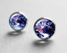 Buy Earth Stud Earrings Post, Planet Earrings, Space Jewelry, Solar System Earrings, E136 by petitevanilla. Explore more products on http://petitevanilla.etsy.com
