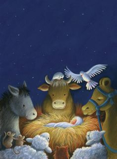 Lovely manger nativity — Pauline Siewert - Around The Crib Christmas Scenes, Christmas Nativity, Christmas Art, Christmas Greetings, Christmas Decorations, Christian Christmas, Christmas Paintings, Vintage Christmas Cards, Winter Scenes