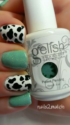 Mint and black-and-white-spotted nails. Gorgeous Nails, Pretty Nails, Nails 2015, Cow Nails, Uñas Fashion, Gelish Nails, Nail Nail, Nail Polish Art, Girls Nails
