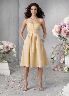 889df0151d42 bridesmaid dresses in yellow | Yellow Tea length Sash Taffeta Baby Doll A- line Silhouette