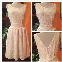 Summer lace dress Lace lined dress zipper back Band of Gypsies Dresses Midi