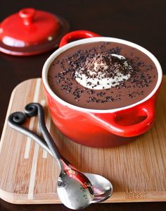 """Warm Chocolate Dessert Soup -- This dessert should be served warm.  I have a jar of gourmet ice cream topping called """"chocolate crunch"""" that I used for further garnishing.  Completed, the soup is rich and velvety. The flavor is a bit like a rich chocolate pudding.  If I could describe where chocolate soup lives, it's somewhere between rich hot chocolate-ville and chocolate pudding city."""