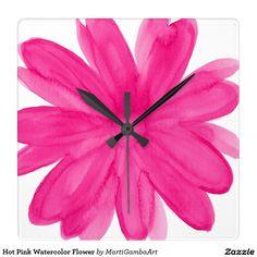 Hot Pink Watercolor Flower