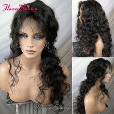 8A 처리되지 않은 처녀 브라질 전체 레이스 가발 인간의 머리 아기 머리 150 밀도 자연 웨이브 글루리스 레이스 전면 가발