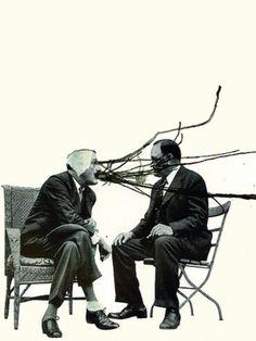 'Men, the Heated Conversation', Collage art, by Richard Vergez.