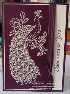 handmade card: Perfect Peacock by Michele Jutrisa . white embossed on royal purple . luv the pearls on the feather eyes . Stampin' Up! Hand Made Greeting Cards, Making Greeting Cards, Greeting Cards Handmade, Perfect Peacock, Bee Cards, Scrapbook Cards, Scrapbooking, Stamping Up Cards, Get Well Cards