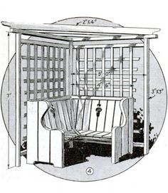 """As pergola plus lawn swing, this plan lets you combine two backyard staples. The structure gets its frame from 3 x 3–inch pine stock, and placing it in front of """"a hedge or background of shrubbery with a trailing vine [can] provide the shade for the seat."""" 1933, """"You Can Build This Pergola""""   - PopularMechanics.com"""