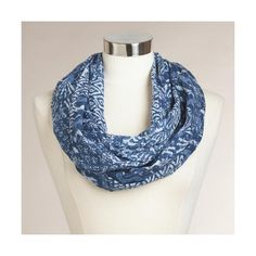 Cost Plus World Market Indigo Patchwork Infinity Scarf ($20) ❤ liked on Polyvore featuring accessories, scarves, loop scarves, holiday scarves, tube scarf, infinity scarf and circle scarves