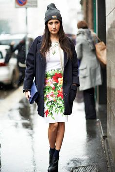 A slouchy jacket and beanie dresses down a ladylike floral dress #streetstyle