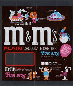 M's Plain chocolate candies - Fun Size multi-bag unused proof - 1960's 1970's