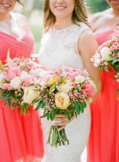 Pink and peach peony and rose wedding bouquets: Photography : Rebecca Yale Photography | Bridesmaids' Dresses : J. Crew | Wedding Dress : Monique Lhuillier | Hair + Makeup : JACKIE SCHNEIDER BEAUTY Read More on SMP: http://www.stylemepretty.com/pennsylvania-weddings/2017/01/11/organic-farm-wedding/