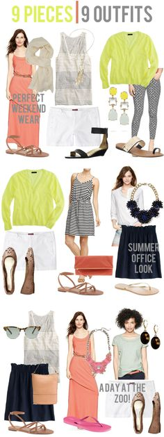 jillgg's good life (for less)   a style blog: 9 pieces   9 outfits {I love the navy skirt for the office look - could totally use that for summer}